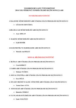2014-2015 eğitim öğretim yılı öğrenci temsilciliği secim sonucları