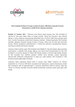 Türk Eximbank ile Bank of Georgia arasında 20 milyon ABD Doları