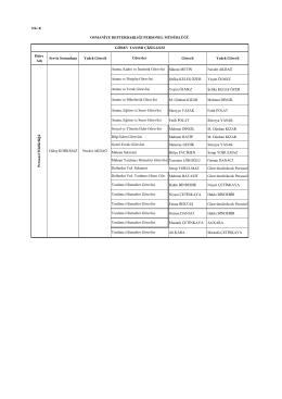 Ek B/4: Personel Müdürlüğü Görev Dağılımı Çizelgesi