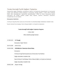 Toraks Derneği/Tevfik Sağlam Toplantısı Programı için