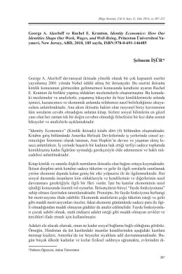 Identity Economics / George A. Akerloff ve Rachel E. Kranton