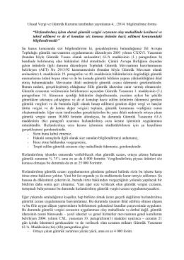 Ulusal Vergi ve Gümrük Kurumu tarafından yayınlanan 4.../2014