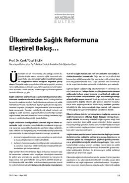 Ülkemizde Sağlık Reformuna Eleştirel Bakış…