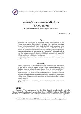 Siyabend EBEM - Ege Üniversitesi Türk Dünyası İncelemeleri Dergisi