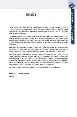 ÖNSÖZ - Türk Hematoloji Derneği