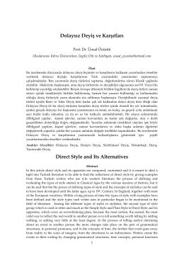 Dolaysız Deyiş ve Karşıtları - Dil ve Edebiyat Eğitimi Dergisi