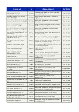 Anlaşmalı firma listesi