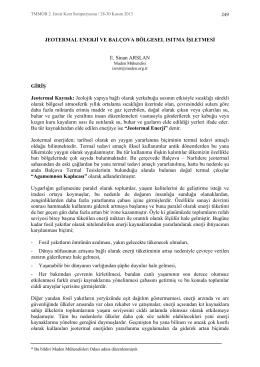 Jeotermal Enerji ve Balçova Bölgesel Isıtma İşletmesi