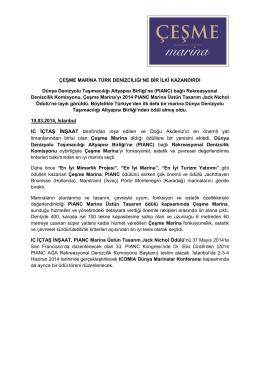 """Çeşme Marina """"Uluslararası Tasarım Büyük Ödülü"""