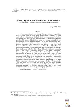 Şora/Çora Batır Destanının Kazak, Tatar ve Kırım