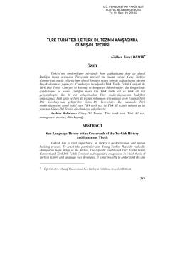 türk tarih tezi ile türk dil tezinin kavşağında güneş