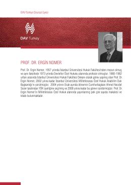 PROF. DR. ERGİN NOMER