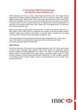Dr. Murat Ülgen HSBC Küresel Gelişmekte olan Piyasalar Araştırma