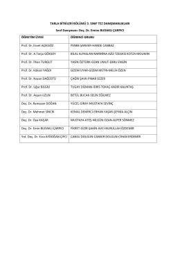 Tarla Bitkileri 3. Sınıf Bitirme Çalışması Danışman Listesi