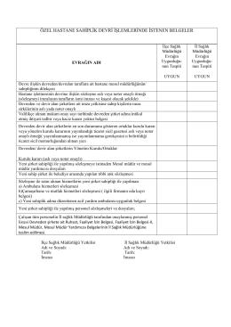 özel hastane sahiplik devri işlemlerinde istenen belgeler