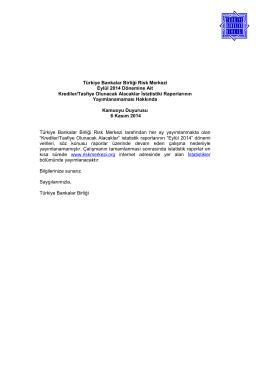 Eylül 2014 Dönemine Ait Krediler/Tasfiye Olunacak Alacaklar