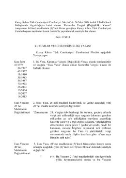 Kurumlar Vergisi (Değişiklik) Yasası