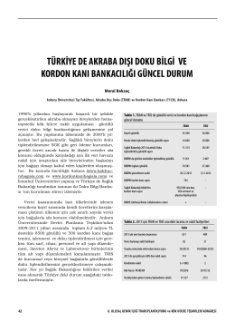 türkiye de akraba dışı doku bilgi ve kordon kanı bankacılığı güncel