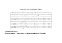 2013-2014 bahar yarıyılı yatay geçiş başvuru sonuçları öğrenci adı