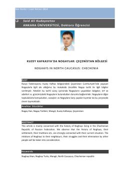 Said Ali Kudaynetov ANKARA ÜNİVERSİTESİ, Doktora Öğrencisi