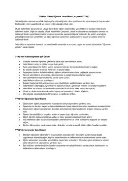Türkiye Yükseköğretim Yeterlikler Çerçevesi (TYYÇ) Yükseköğretim