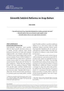 Güvenlik Sektörü Reformu ve Arap Baharı