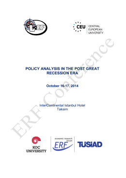 POLICY ANALYSIS IN THE POST GREAT RECESSION ERA