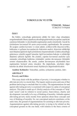 TÜRKERİ, Mehmet-YOKSULLUK VE ETİK