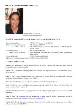Öğr. Gör. Dr. Gülfem UYSAL - Antropoloji Bölümü