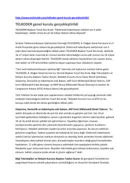 TELKODER genel kurulu gerçekleştirildi 08 Aralık 2014