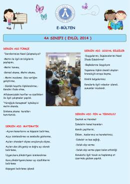 E-BÜLTEN 4A SINIFI ( EYLÜL 2014 )