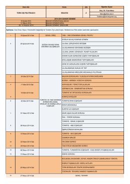 2013-2014 TDP II HAFTALIK DERS PLANI