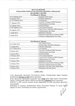 2014 yılı akademik takvimi