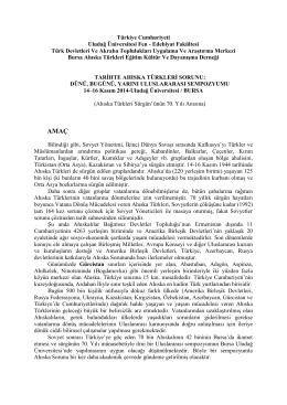 tarihte ahıska türkleri sorunu - Fen-Edebiyat Fakültesi