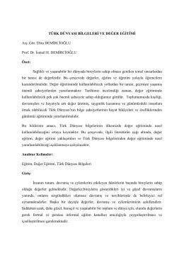 TÜRK DÜNYASI BİLGELERİ VE DEĞER EĞİTİMİ Arş. Gör. Ebru