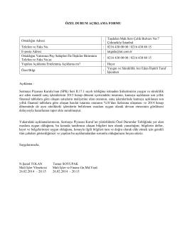 Özel Durum Açıklama Formu 26 Şubat 2014-2
