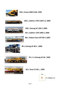 160 t, Grove GMK 5160, 1999 100 t, Liebherr LTM