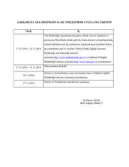 HAKKARİ İLİ AİLE HEKİMLİĞİ 16. EK YERLEŞTİRME UYGULAMA