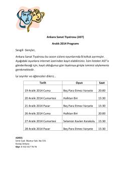 Ankara Sanat Tiyatrosu (AST) Aralık 2014 Programı Sevgili Gençler