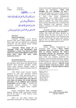İLİ : YOZGAT TARİH : 31/01/2014 KANAAT Değerli Kardeşlerim
