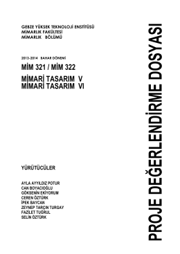 MİM 321 / MİM 322 MİMARİ TASARIM V MİMARİ