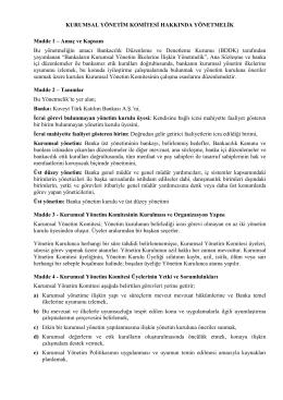 Kurumsal Yönetim Politikası - Kuveyt Türk Katılım Bankası A.Ş.