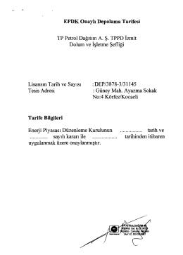 EPDK Onaylı Depolama Tarifesi Tarife Bilgileri