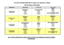 2014-2015 eğitim-öğretim yılı özel ata anadolu lisesi