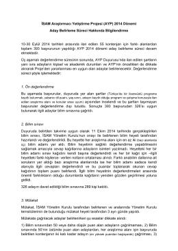 (AYP) 2014 Dönemi Aday Belirleme Süreci Hakkında