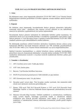 Yeşil Havaalanı Projesi Sektörel Kriterler Dokümanı