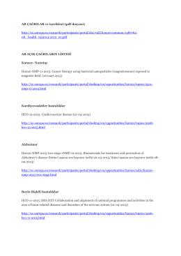 AB ÇAĞRILAR ve içerikleri (pdf dosyası) http://ec.europa.eu