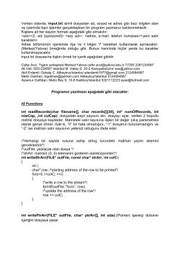 Verilen ödevde, input.txt isimli dosyadan ad, soyad ve adres gibi