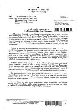 Dış İşleri Bakanlığı Yazısı - Maliye Bakanlığı