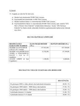 2014 Yılı BAP Parasal Değerleri